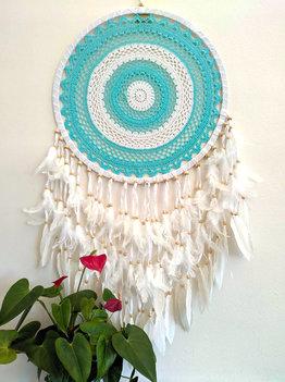 XL dromenvanger Turquoise/wit (50cm)