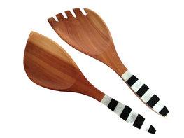 Slabestek / opscheplepel hout met parelmoer