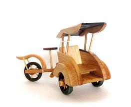 Miniatuur becak van hout