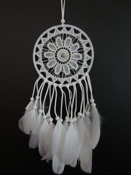 Gehaakte dromenvanger wit (15cm)