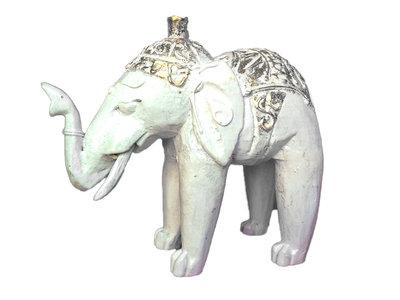 Houten olifantje (wit)