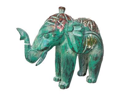 Houten olifantje (groen)