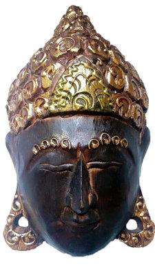 Boeddha masker bruin/goud