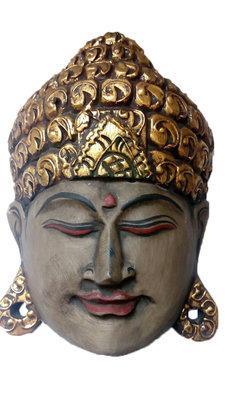 Boeddha masker grijs/naturel