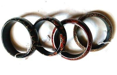 Armband hout, batik 2cm breed