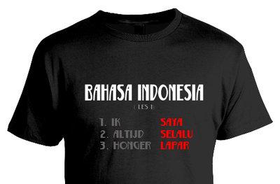 """Tshirt  """"Bahasa Indonesia"""" (zwart)"""
