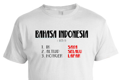 "Tshirt  ""Bahasa Indonesia"" (wit)"