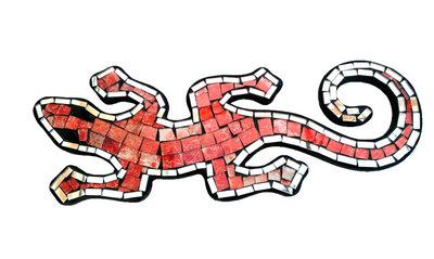 Hagedis/Cicak Mozaik - Oranje Gemeleerd 30cm