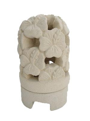Lampje / waxine houder van steen HIBISCUS