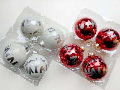 """Set Kerstballen """"Selamat Hari Natal"""" WIT"""