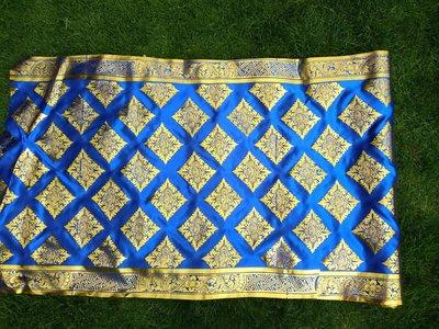 Balinese stof per meter ~ blauw (kain prada)
