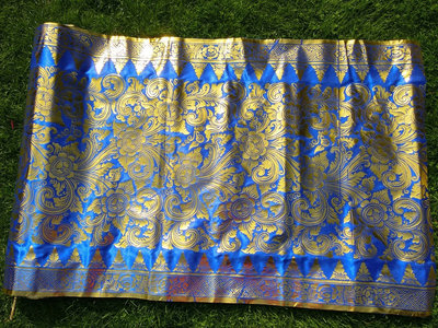 Balinese stof per meter ~ donker blauw (kain prada)