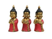 Boeddha brons, set van drie (rood)