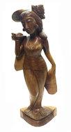 Houtsnijwerk balinese vrouw 60cm